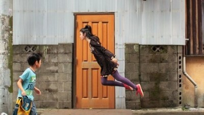 Image: Girl mid-jump
