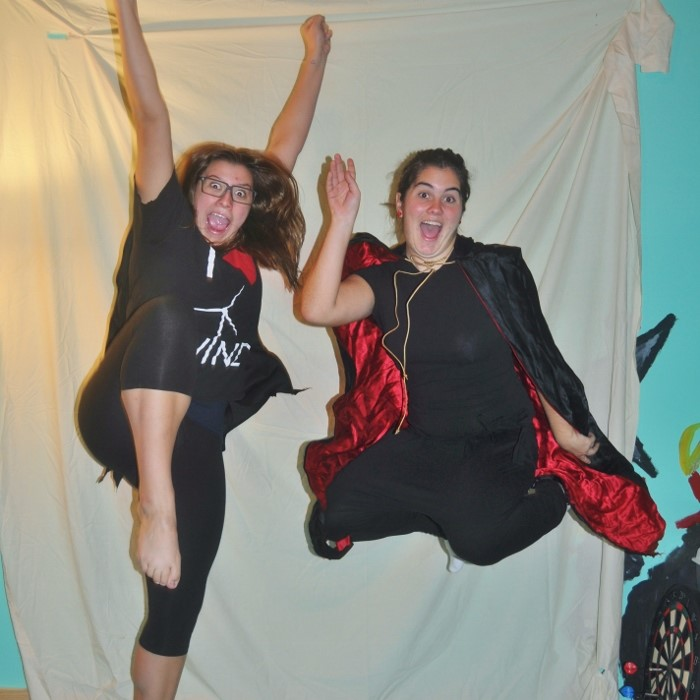 Two ladies floating