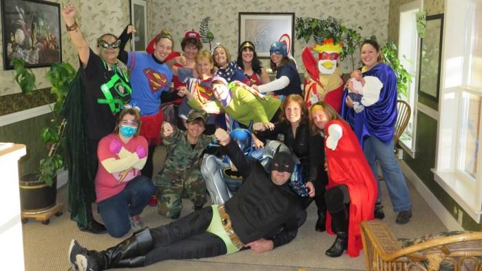 Image: Fiddlehead Superheroes dressed in their favorite super hero's costume