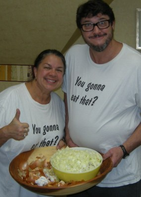 "Image: Dr Lynda and Dr Chuck wearing ""You gonna eat that?"" t-shirts"