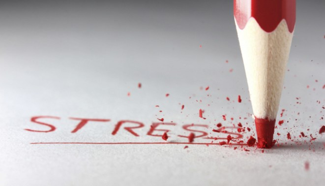 Image: STRESS in red pencil