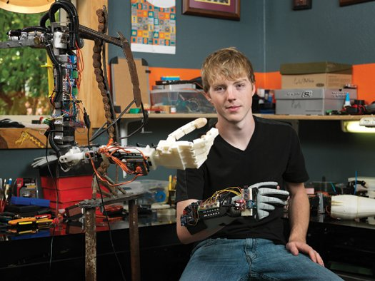 Image: teen Easton LaChapplle and his homemade robotic arm