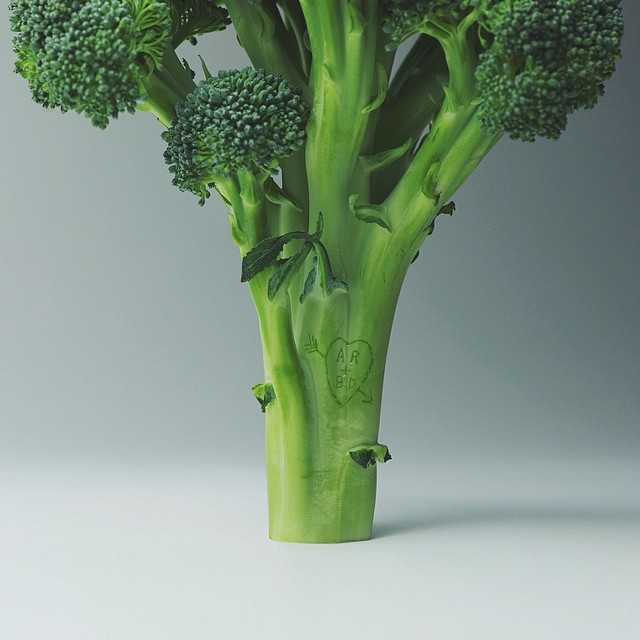 Image: Broccoli tree with heart carved in it. Brock Davis Photography