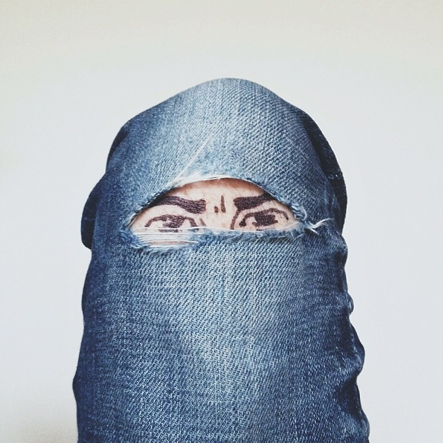 Image: torn knee of pants becomes a veil, Brock Davis Photography