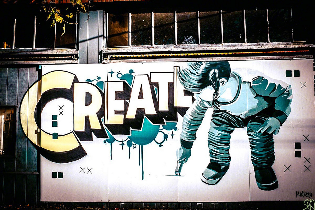 Image: A creative wall of graffiti spelling out CREATE