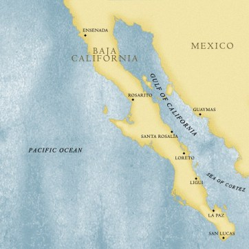 Image: map of Baja Peninsula and Sea of Cortez