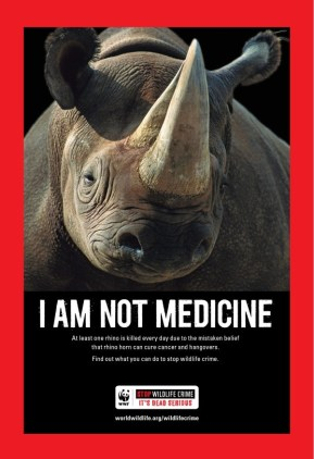 Image: World Wildlife Fund Poster against Rhino Poaching for Asian Medicines