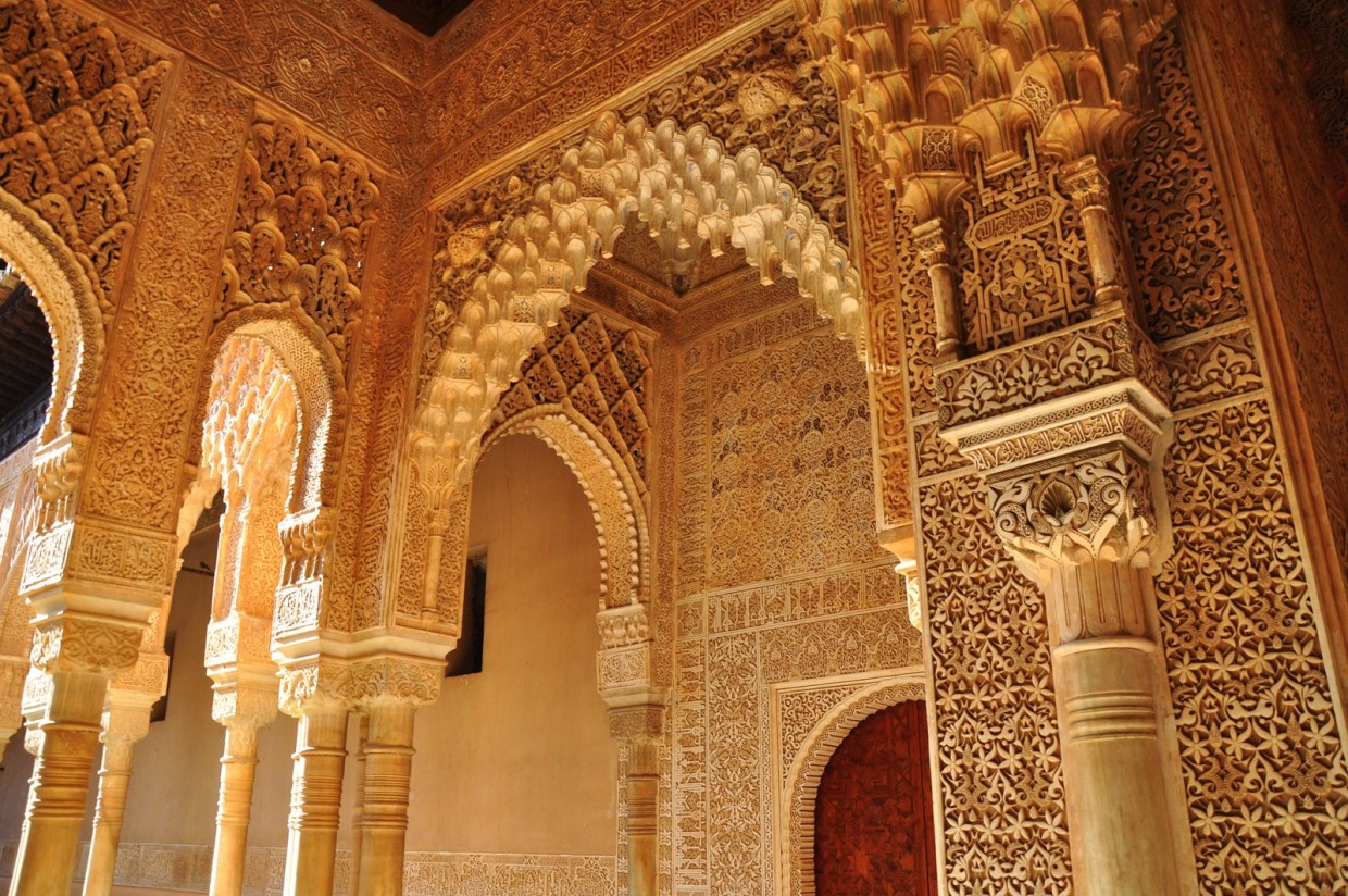 Image: Ornate carving in a doorway at the Alhambra