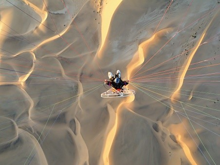 Image: Theo hanging from paraglider shot from above