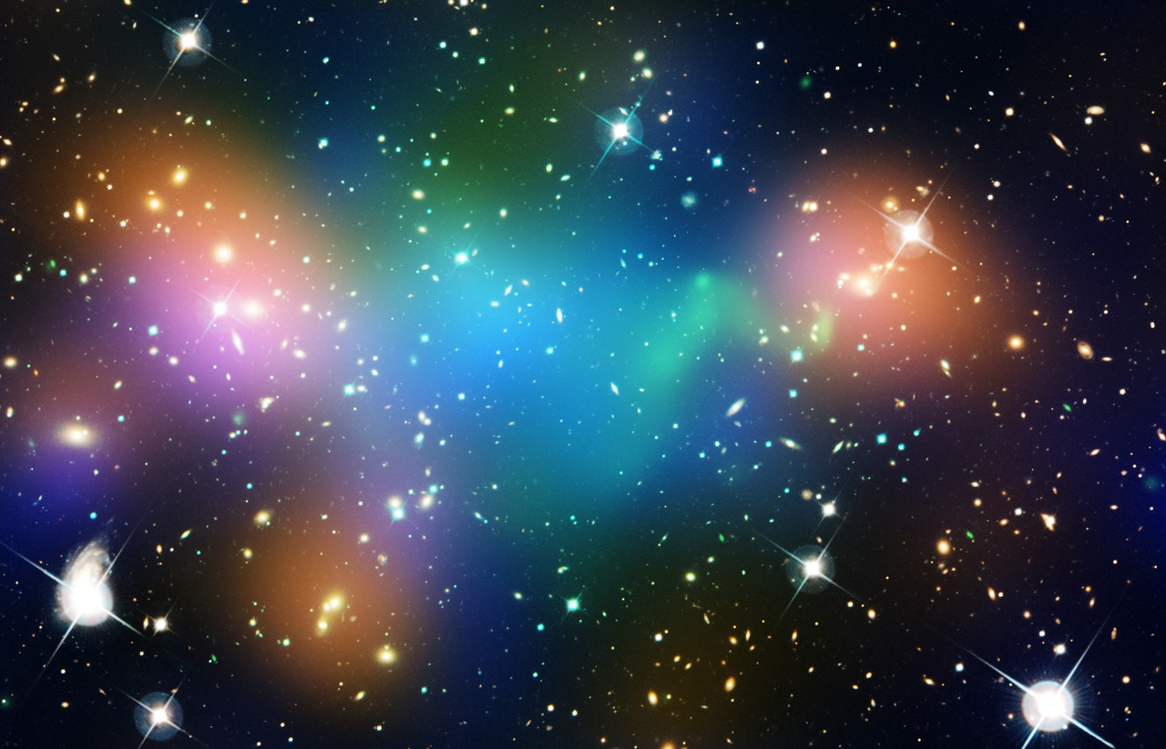 """""""Astronomers observed what appeared to be a clump of dark matter left behind during a bizarre wreck between massive clusters of galaxies."""""""