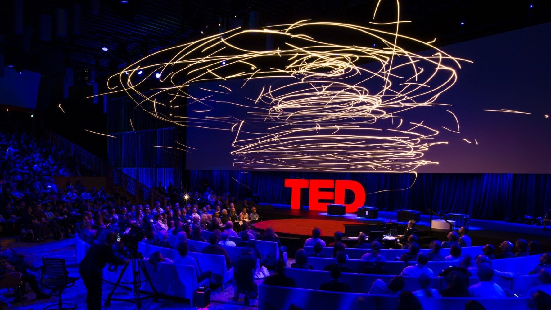 Flying Machines of the Future TED Talk, drones flying above the TED audience