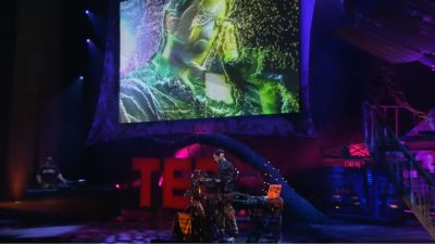 Image: Darren Foreman on the TED stage