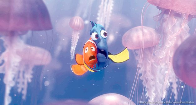 Pixar Animator: Finding Nemo Dory and Marlin surrounded by Jellyfish