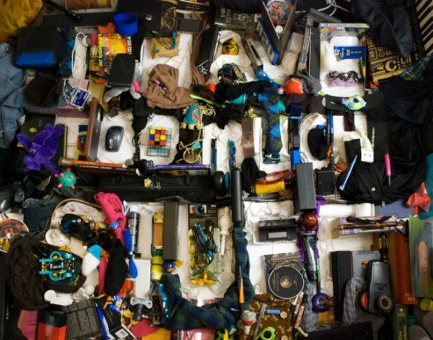 "Image: ""I have too much stuff"" is written with stuff in a pile of stuff!"