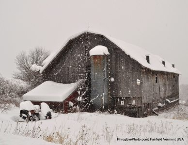 Image: Old Vermont barn with three feet of snow