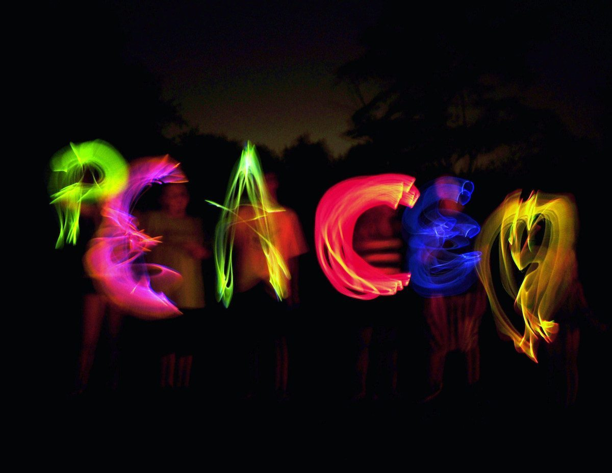 Image: Colorful letters spelling out PEACE