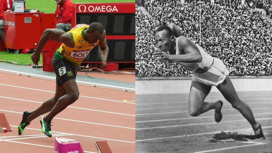 Image: Usain Bolt running on the left, and Jesse Owens running on the right. With every new generation of athletes it seems like we're getting better, faster, and stronger.