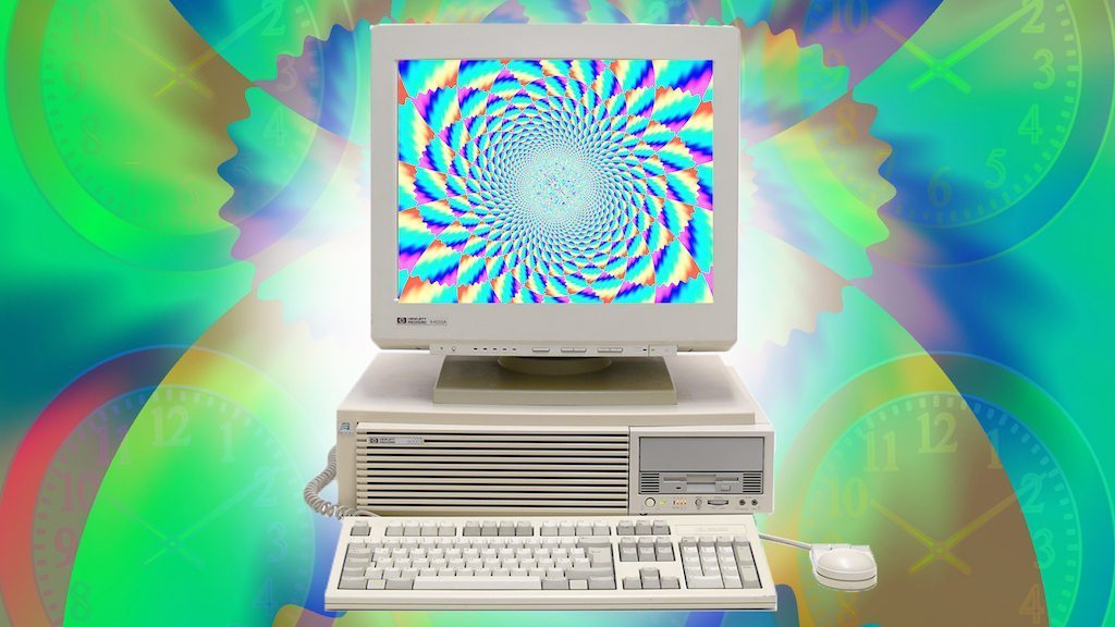 Image: 1990s Computer with psychedelic background. For the hippest internet cafe article