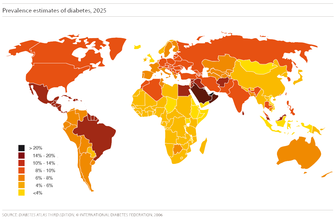Image: Map of the prevalence of Diabetes in 2025 worldwide
