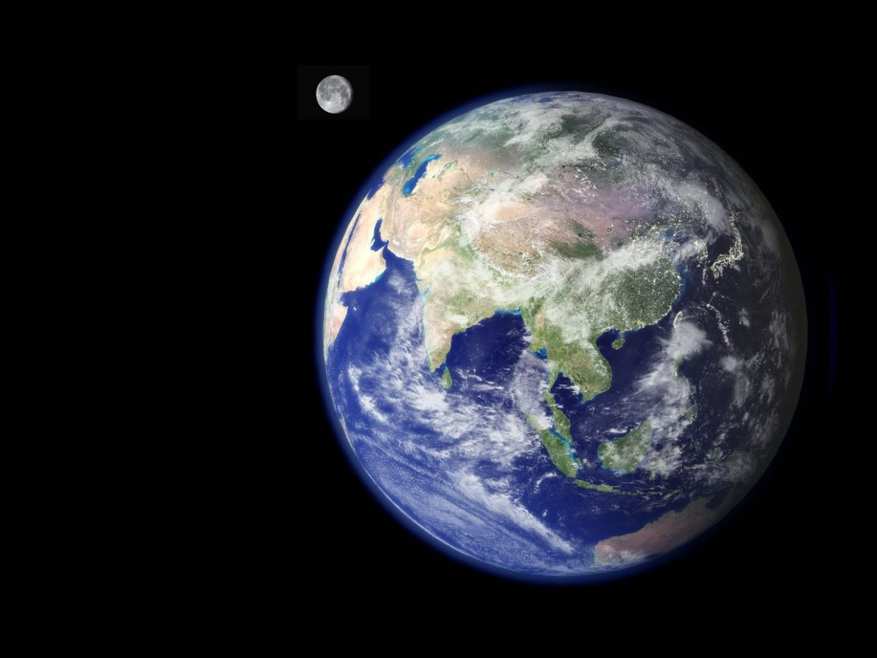 Image: Earth with the moon behind it. Celebrating remarkable places around the world!
