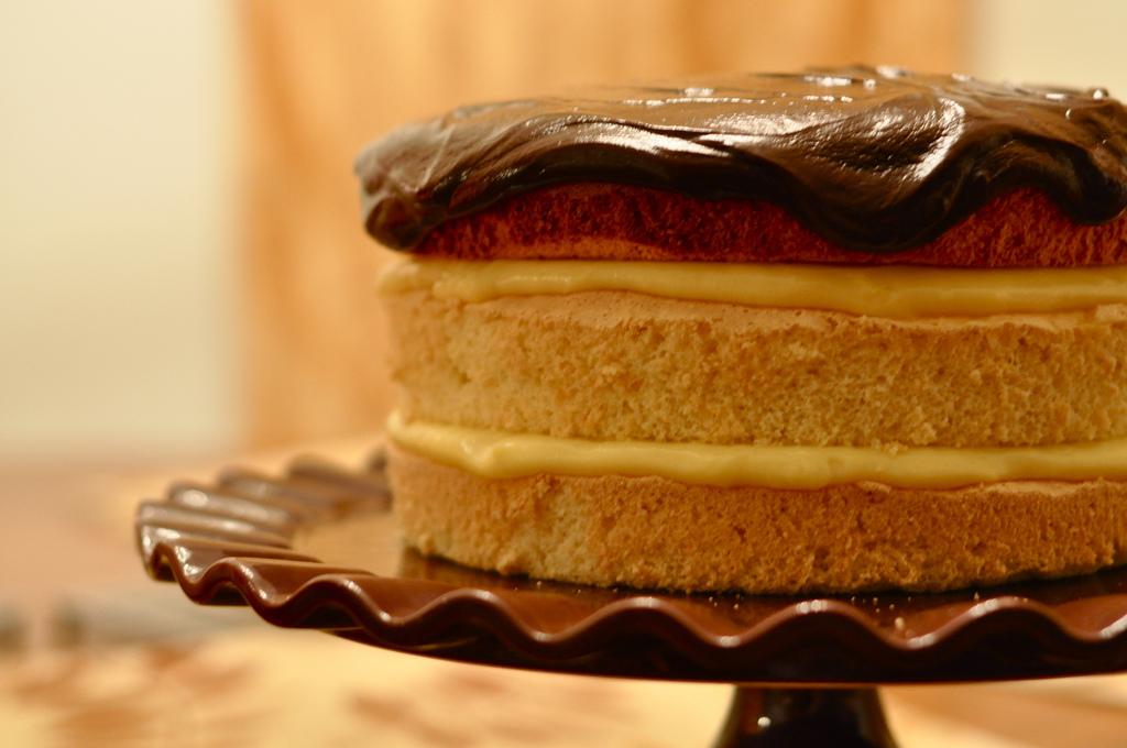 Image: A boston creme cake