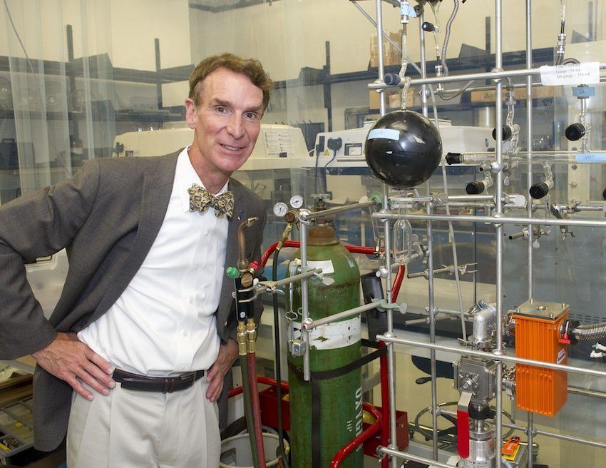 Image: Bill Nye at the Science on a Sphere during a tour of Goddard Space Flight Center