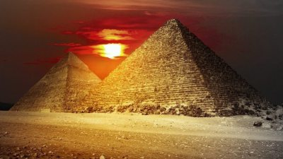 Image: Pyramids at sunset