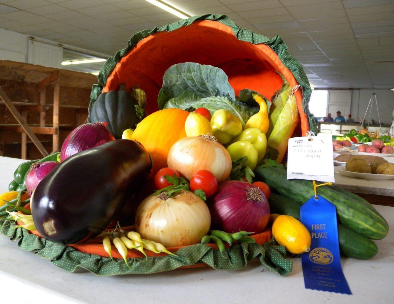 Image: a cornucopia basket of produce