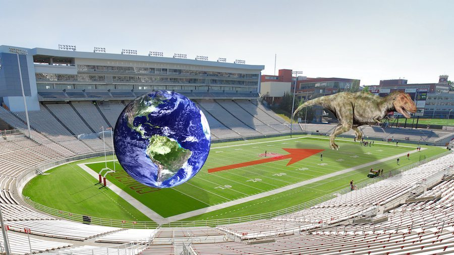 Image: Earth's history on a football field with the Earth at one end and a t-rex at the other
