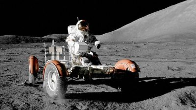 Image: Astronaut from Apollo 17 driving the lunar rover vehicle