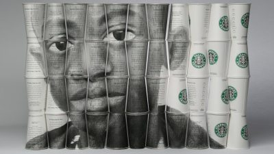 Image: Portrait of a young black boy on a collage of Starbucks paper cups
