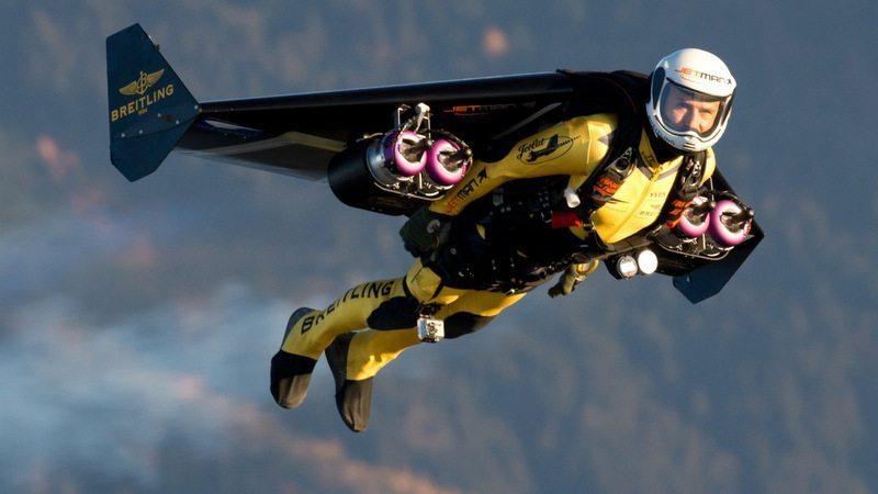 Image: Yves Rossy, Alpha Jetman, flying his rocket wing jetpack