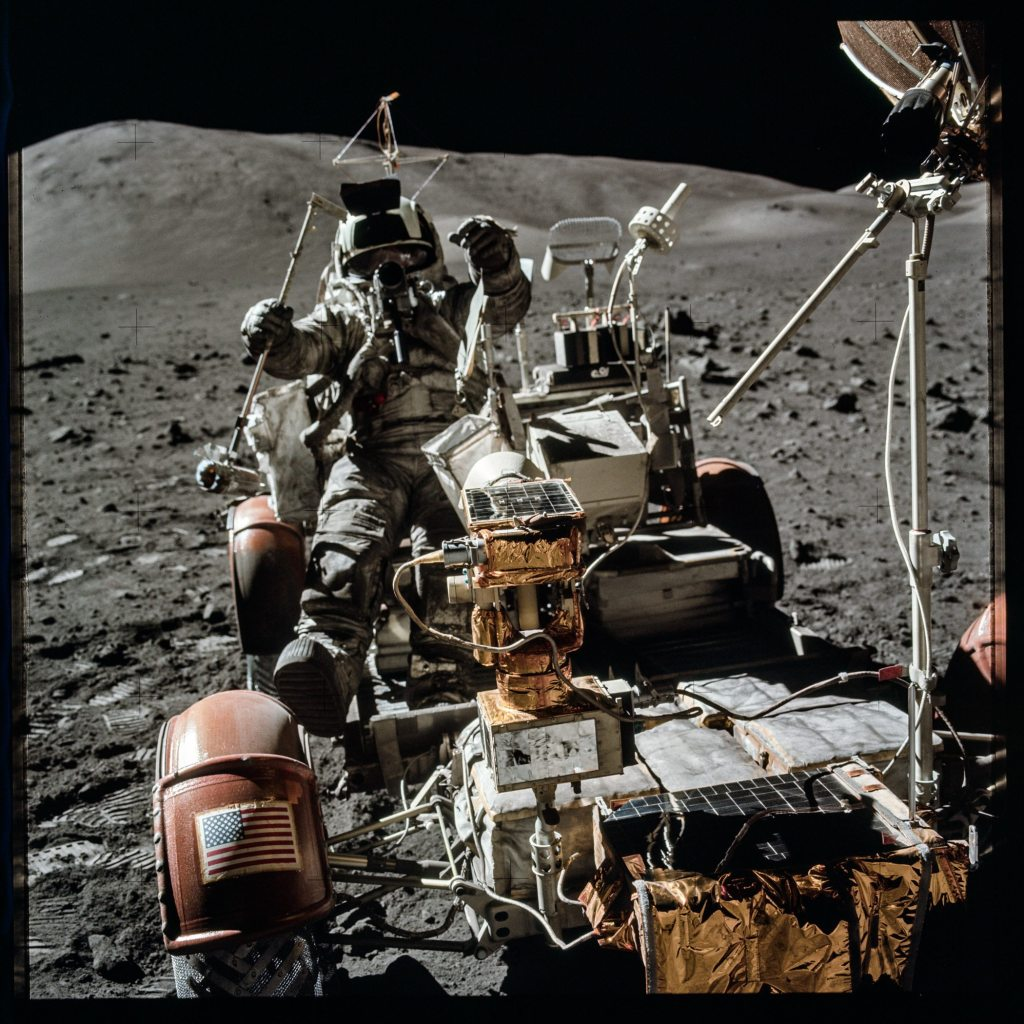 Image: Astronaut driving lunar rover