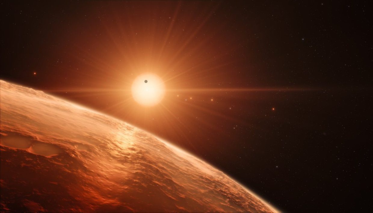 Image: Artist's impression of the view from the surface of a TRAPPIST-1 planet, made after the TRAPPIST-1 discovery