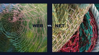 Image: A photo of a web versus a photo of a fishing net
