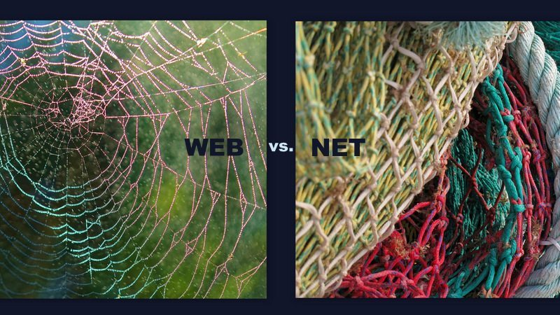 Image: A photo of a spider web versus a photo of a fishing net