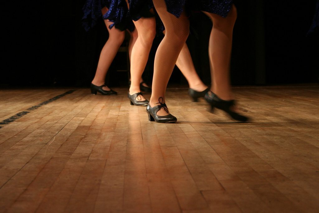 Image: Tap dancers on a wooden floor