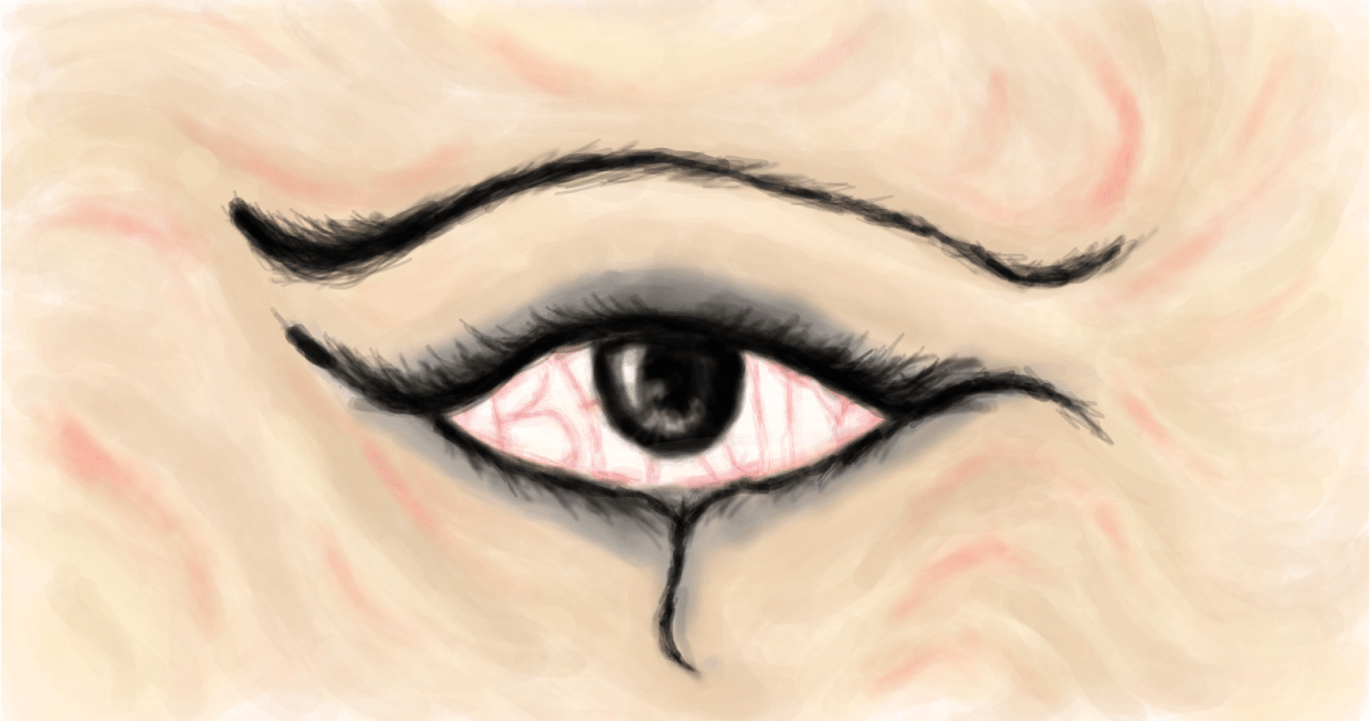 Image: A sketch of an eye, but curiously the corner is in the middle
