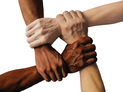 Image: A diverse group holding hands