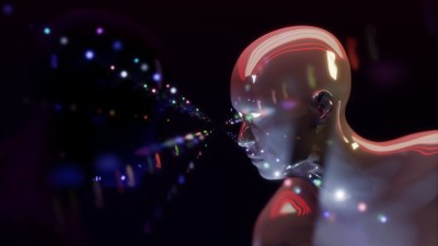 Image: colorful pearls of light shoot from a cobalt human form