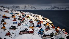 Image: Colorful houses along the Greenland coast