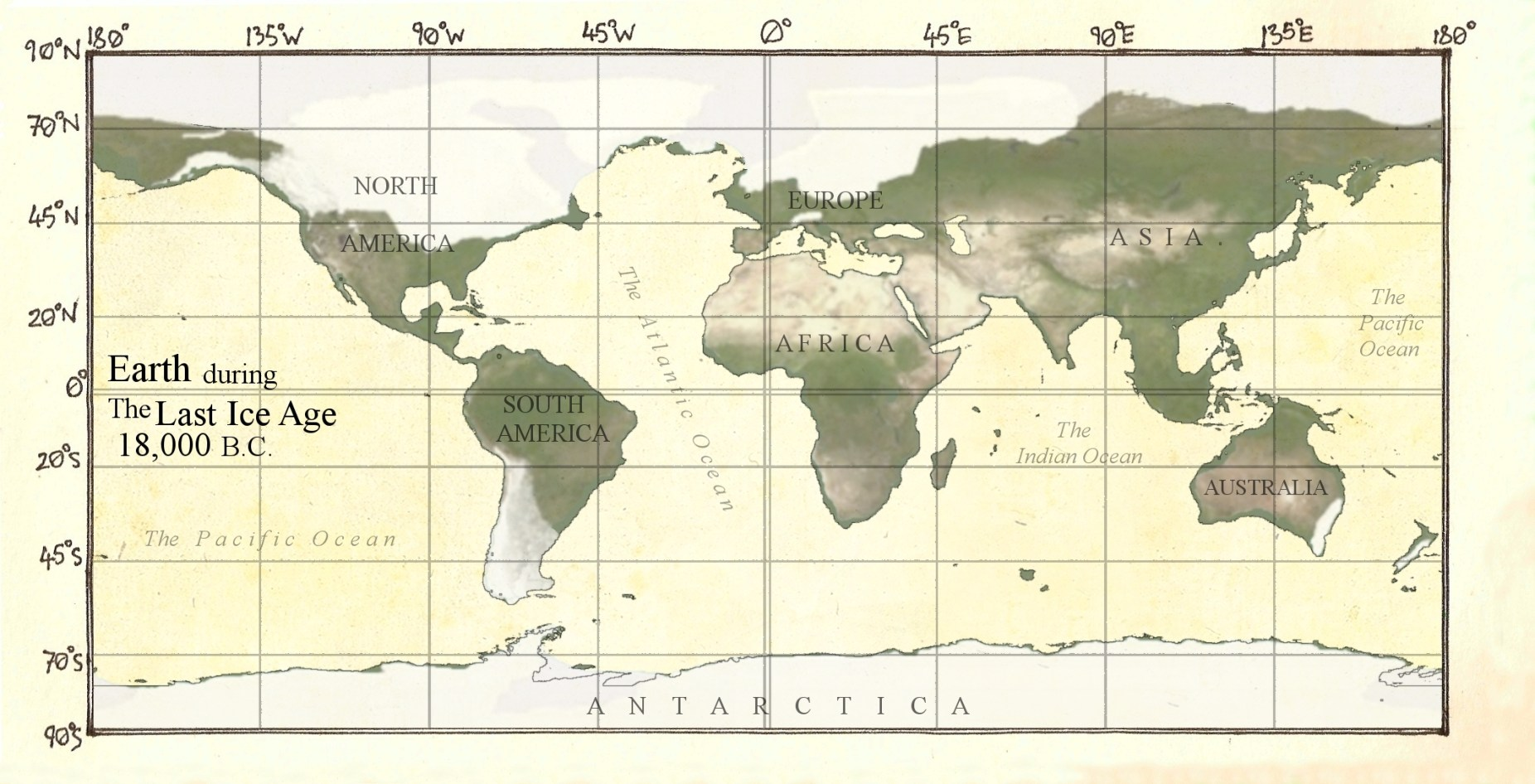 Image: Map of the earth covered with an ice sheet that wiped out many poisonous animals
