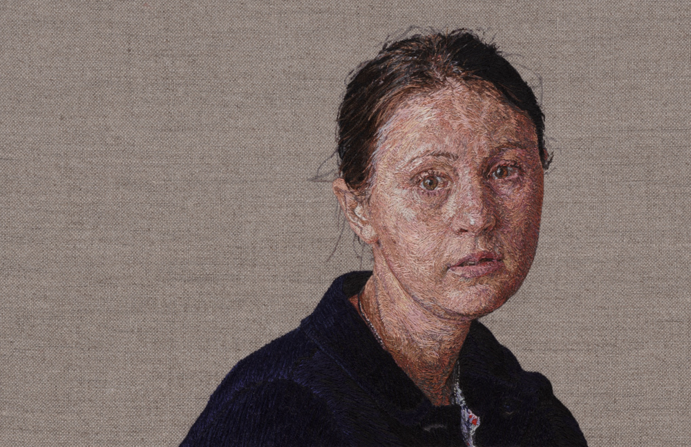 Image: Front side of one of Cayce Zavaglia's embroidered portaits