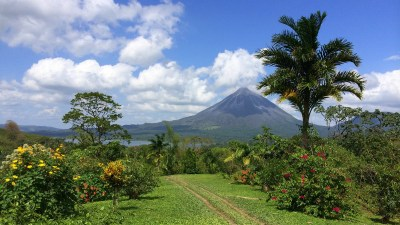 Image: A volcano in the distance with lush jungle in the foreground