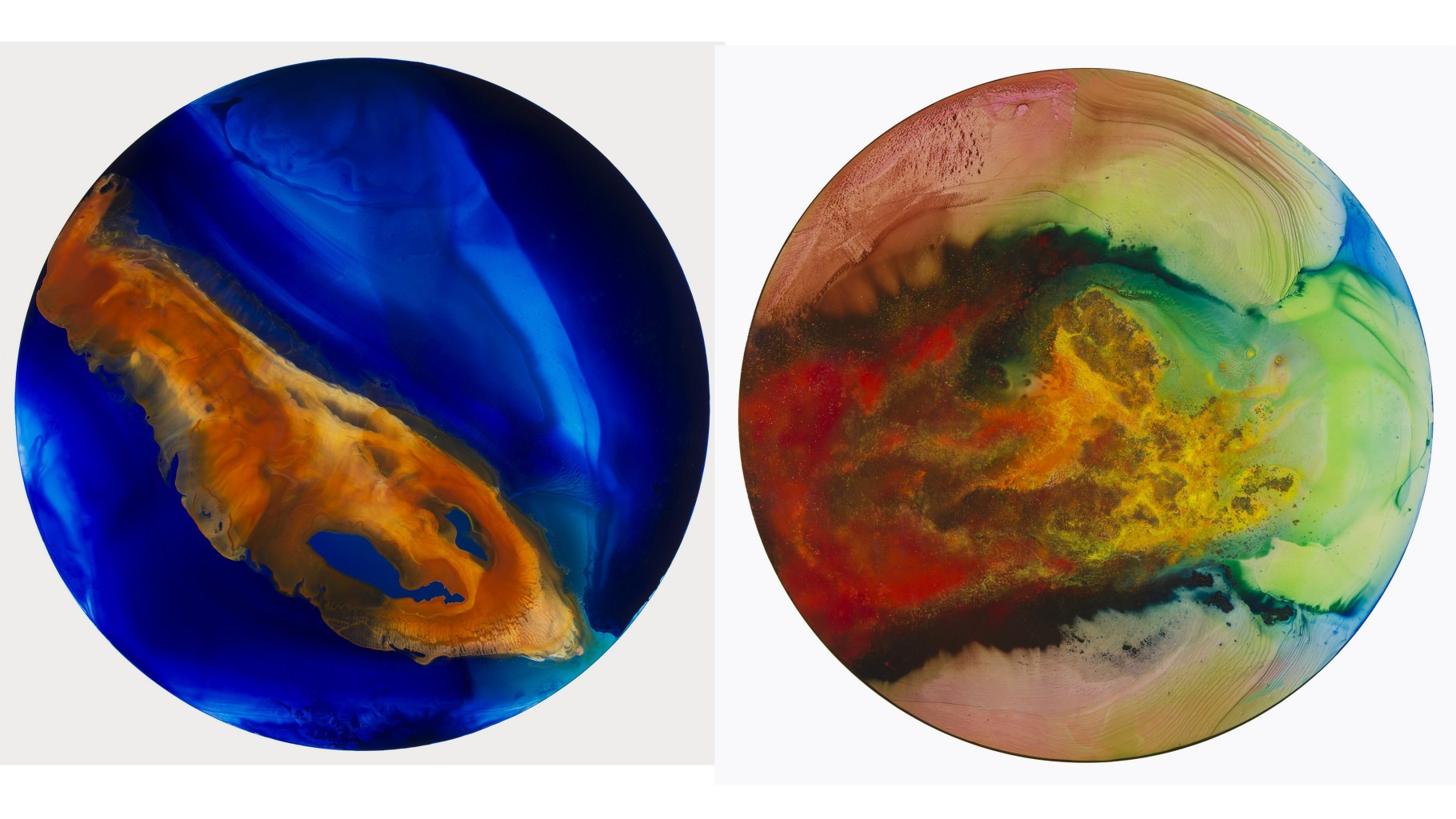 Image: Two round colorful, abstract images made by artist John Sabraw with points from Toxic waste