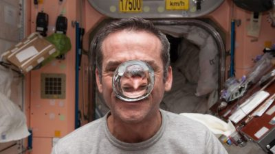 Image: Chris Hadfield in the International Space Station with a bubble of water floating in his face