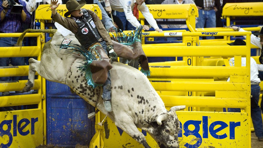 Image: man partipating in the thrilling sport of bull riding.