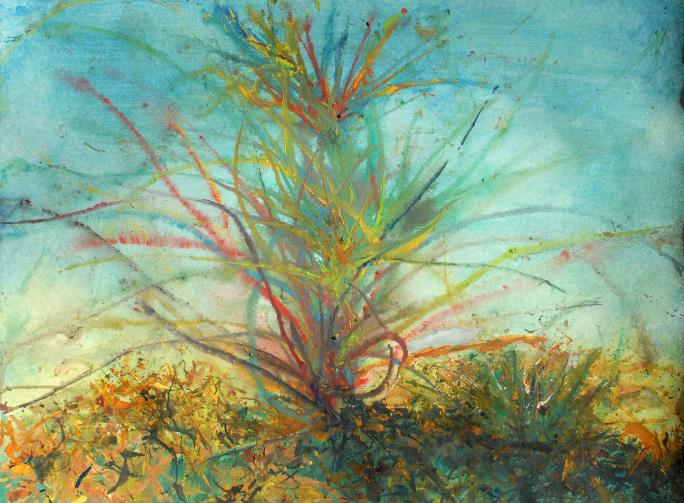 Image: A painting created by Zophobas grubs that looks like a Bromeliad