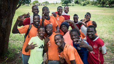 Image: Zambian Handball team players gathered together in a group photo