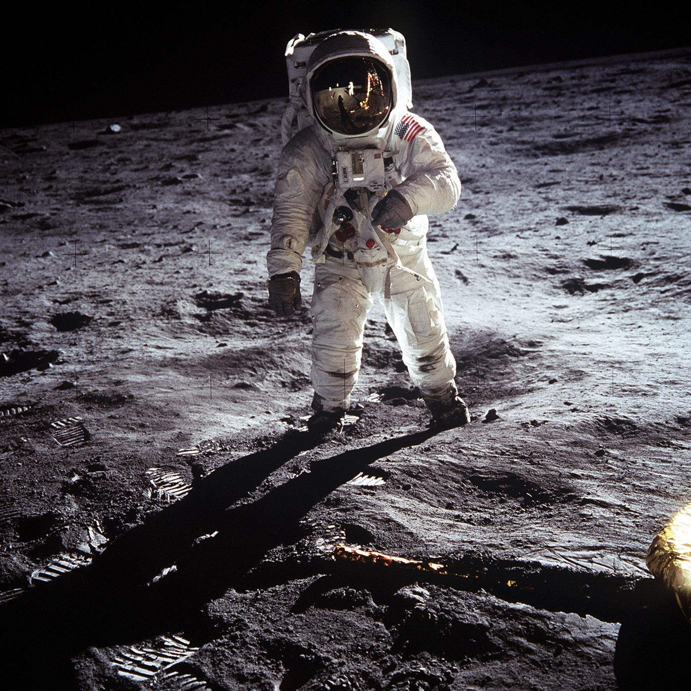 Image: Buzz Aldrin standing in a spacesuit on the moon
